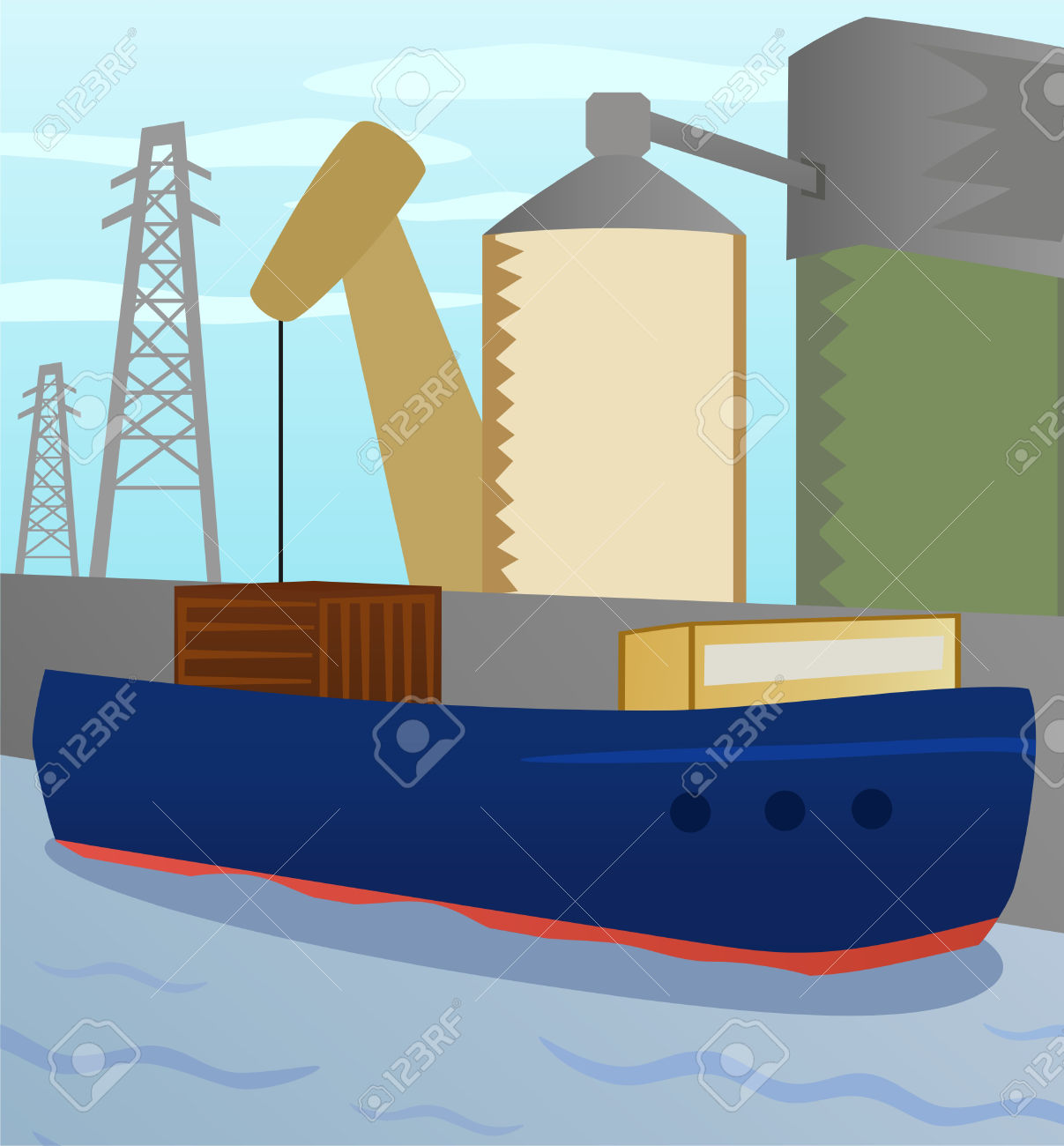 Illustration Cargo Boat On Background Of Port Area Royalty Free.