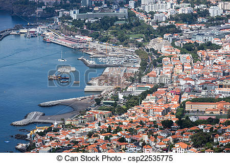 Picture of Aerial cityscape from the port area of Funchal, Madeira.