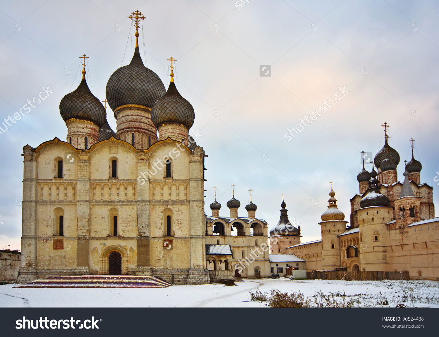 Russian Church Rostov Kremlin Castle Russia Stock Photo 90524488.