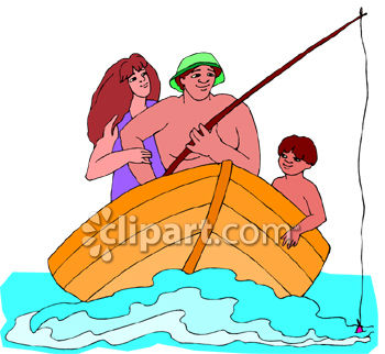 Mom, Dad and Son On a Fishing Trip In a Row Boat.