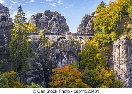 Pictures of Bridge named Bastei in Saxon Switzerland Germany on a.