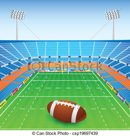 Vectors of Rugby Ball on Stadium.