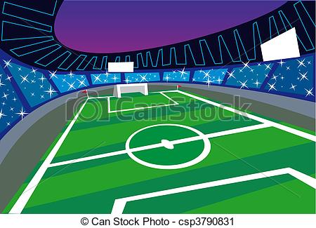 Vector Clip Art of Soccer Stadium wide angle Perspective.