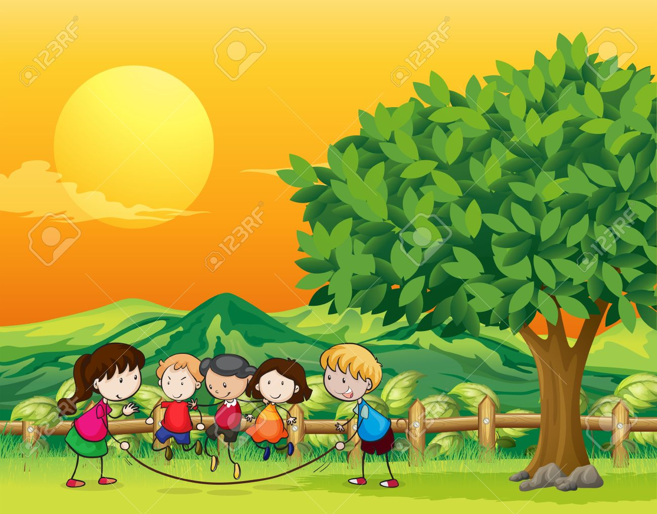 Illustration Of Five Children Playing Jumping Rope Royalty Free.