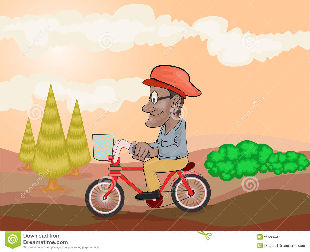 Old Man Riding Bicycle In The Afternoon Royalty Free Stock.