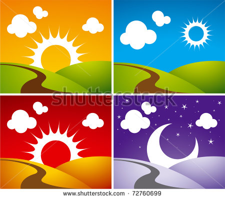 Morning And Night Clipart.