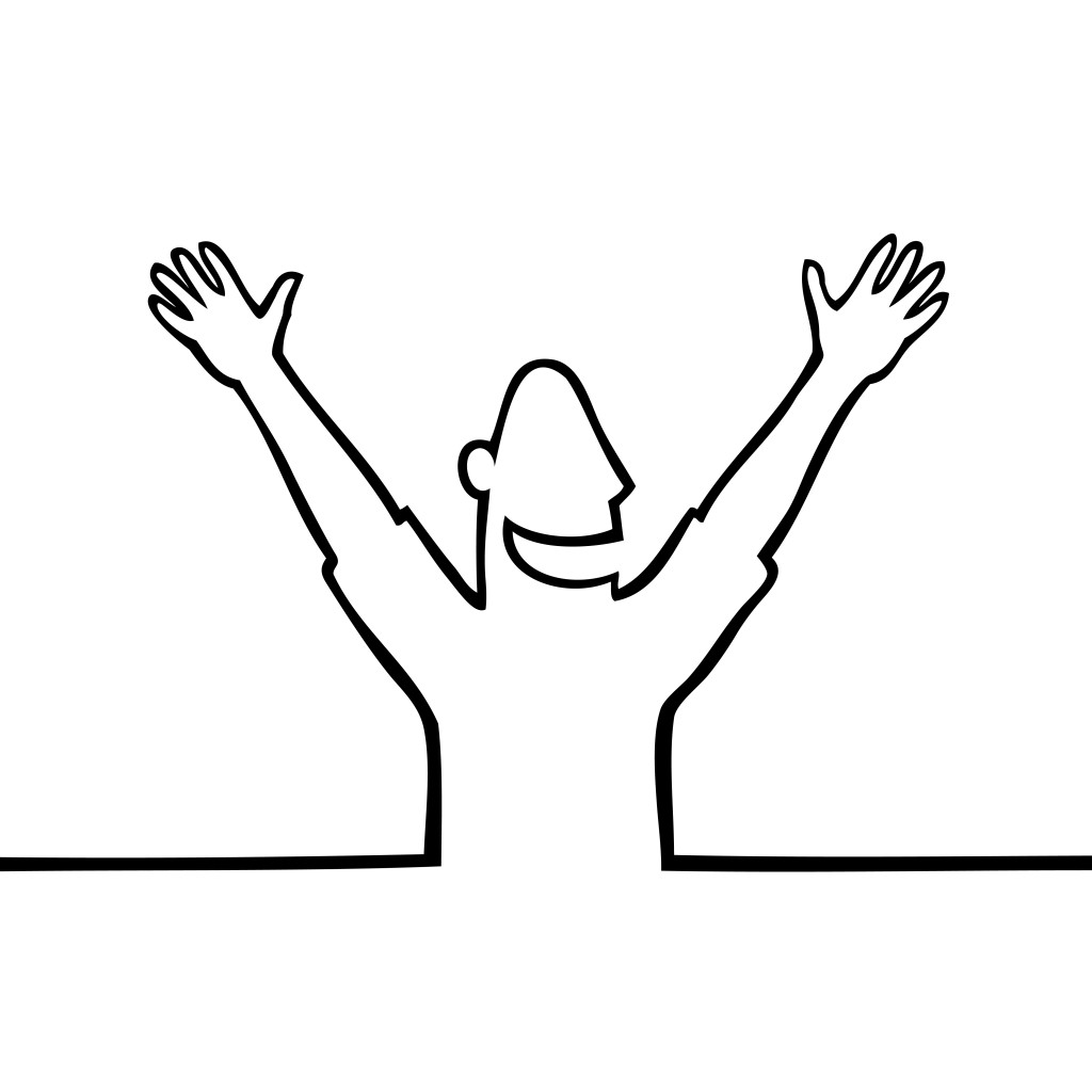 Hands in the air clipart.