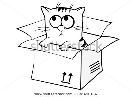 Cat in a Box Clip Art.