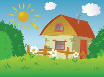 House in the country clipart.