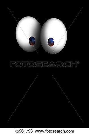Drawing of eyes bulging cartoon character in the dark k5961793.