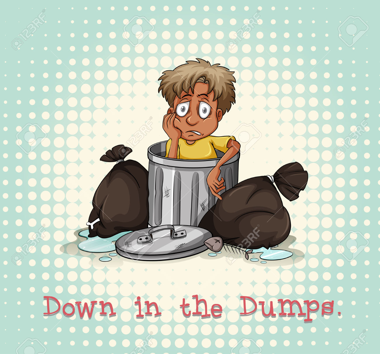 Idiom Down In The Dumps Illustration Royalty Free Cliparts.