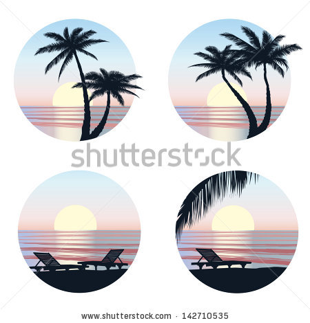 Sunset View Resort Relaxing Evening On Stock Vector 142292566.