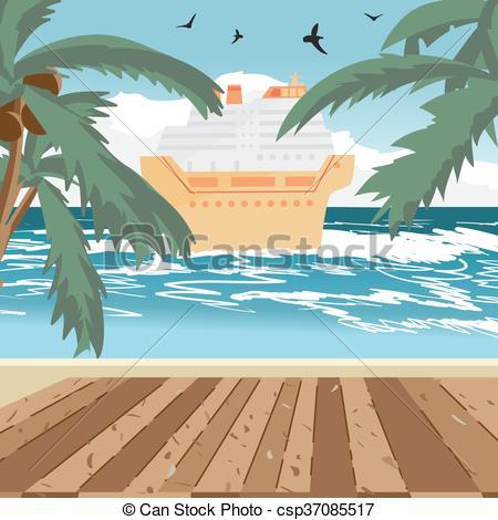 Vector Clip Art of Sea landscape summer beach, wooden floor.