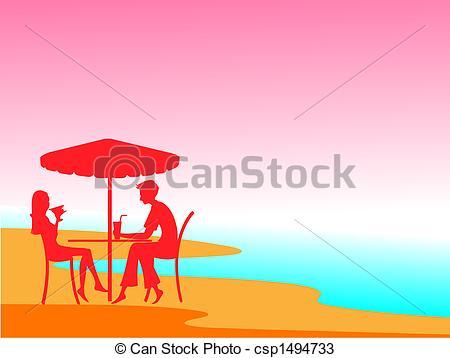 Vectors of couple enjoying a romantic evening on the beach.