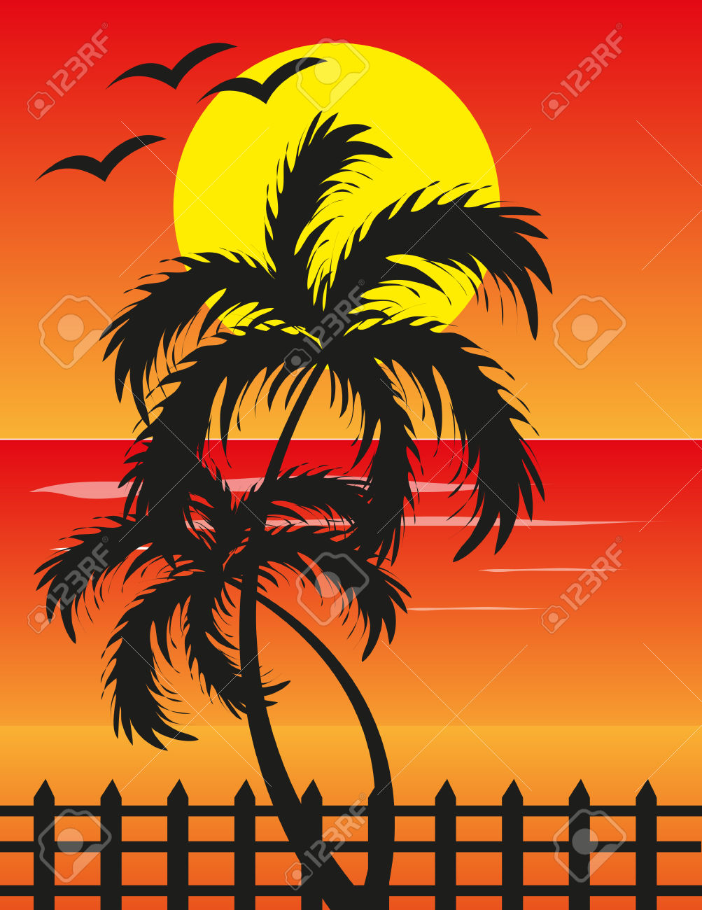 Beach sunset background clipart.