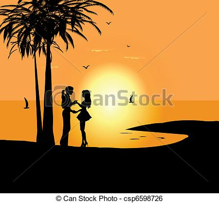Clip Art Vector of southern beach for a loving couple.