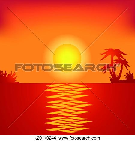Clipart of Tropical beach in the evening. k20170244.
