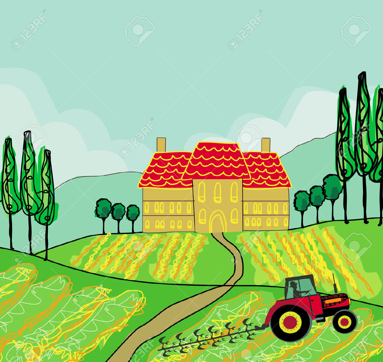 Tractor in field clipart.