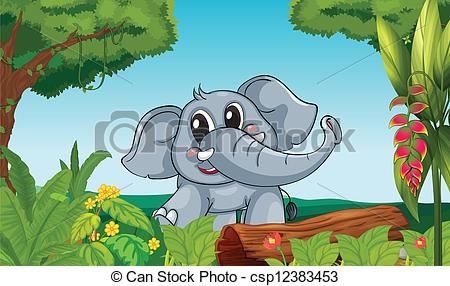 Clipart Vector of An elephant in the forest.
