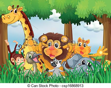 Vector Clip Art of A forest with playful animals.