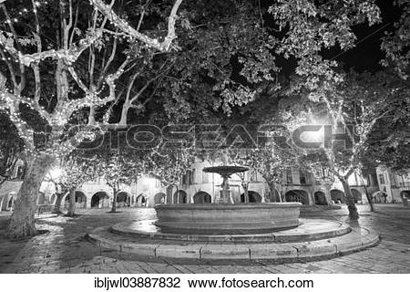 "Stock Photo of ""Fountain on Place aux Herbes at night, Uzes, Gard."
