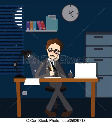 Vector Clip Art of man working late night deadline in office alone.