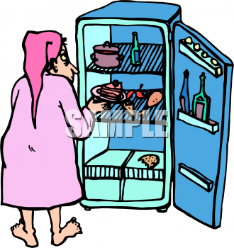 Food Clip Art Picture of a Man Getting a Late Night Snack from the.
