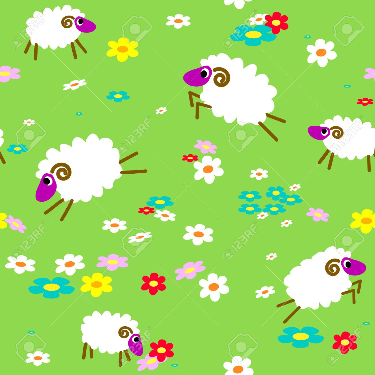 Seamless With Sheep In The Meadow With Flowers Royalty Free.