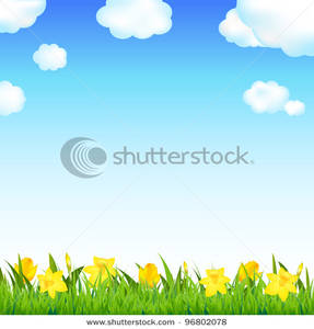 Free Clipart Image: Daffodils Growing In a Meadow.