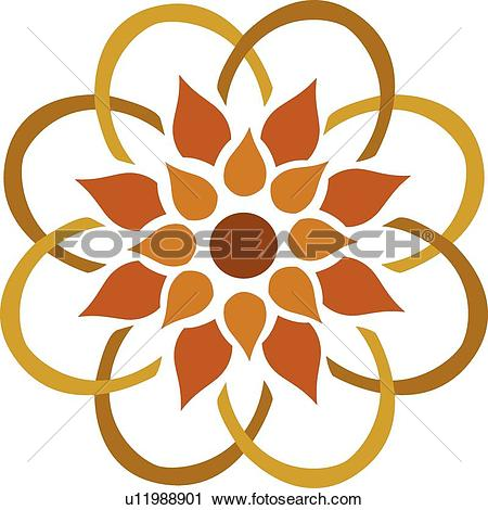 Clipart of Brown flower with an orange flower in the middle.