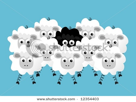 Clip Art Picture Showing a Black Sheep Hiding in the Middle of a.