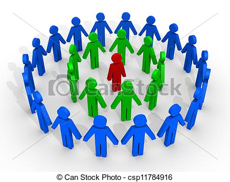 Clipart of Leader in the middle and human figures protecting him.