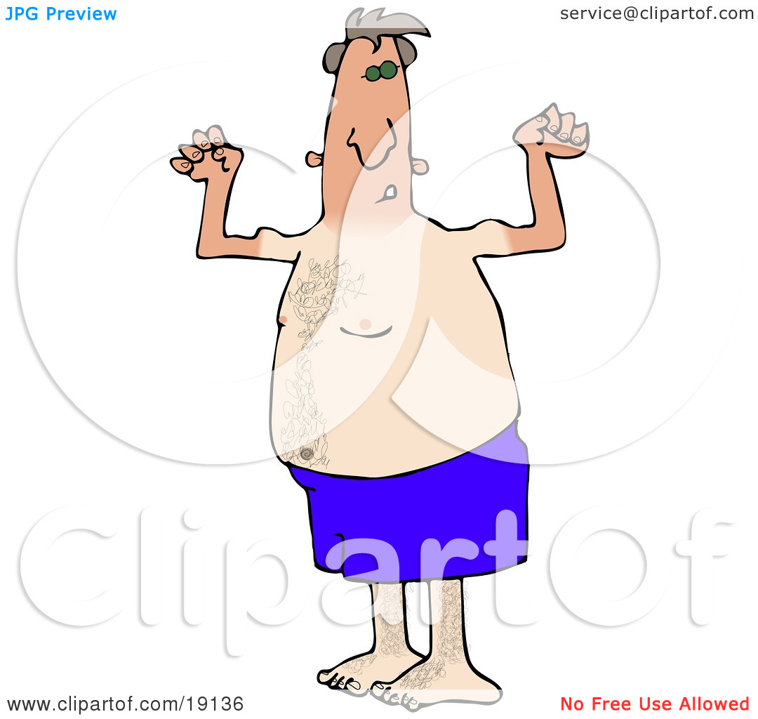 Clipart Picture of a Dorky And Chubby Middle Aged White Man In.