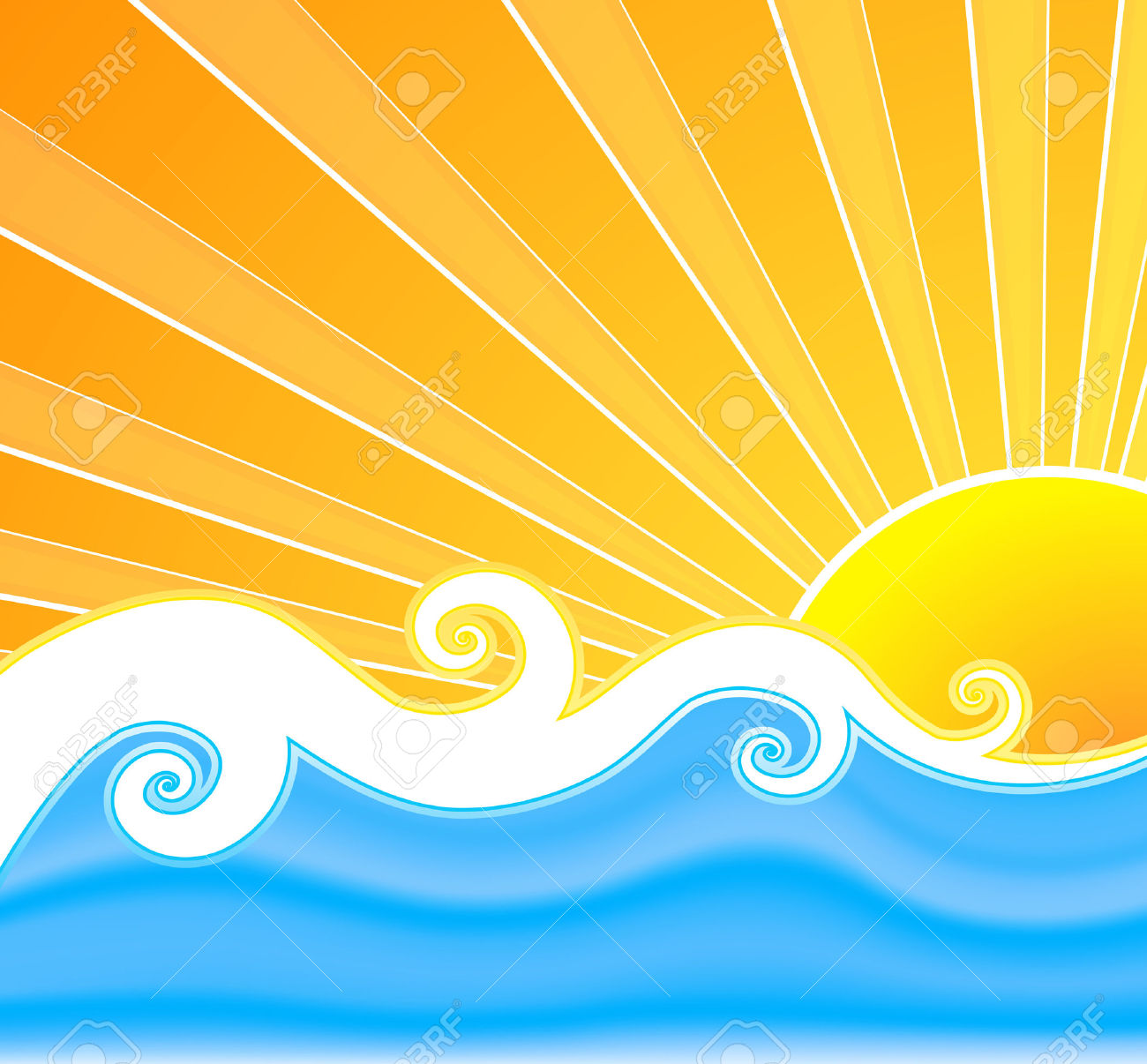 Vector Illustration Of A Swirly Retro Summer Background With.