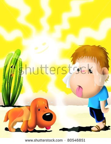 Boy With A Dog And A Cardon Cactus In The Middle Of A Hot Desert.