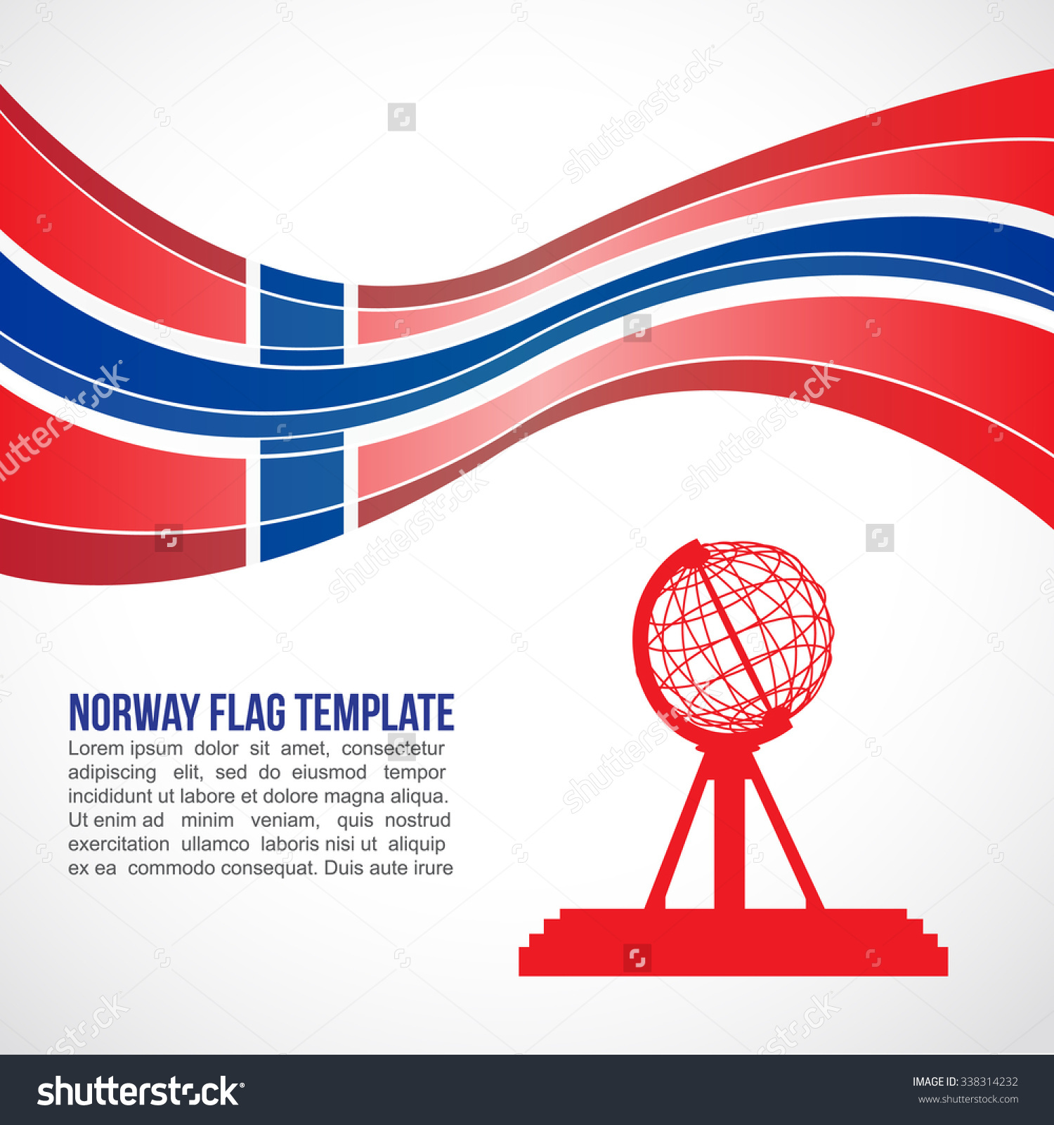 Norway Flag Wave Globe Nordkapp North Stock Vector 338314232.