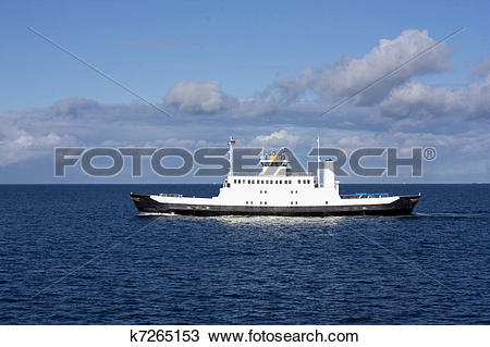 Stock Photo of Small ferry boat on the open sea in north west.