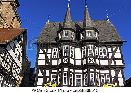 Stock Photography of Town Hall in Old Town in Alsfeld.