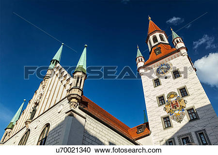 Stock Photography of Old Town Hall (Altes Rathaus), Marienplatz.
