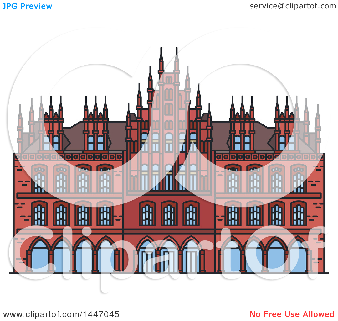 Clipart of a Line Drawing Styled German Landmark, Old Town Hall.