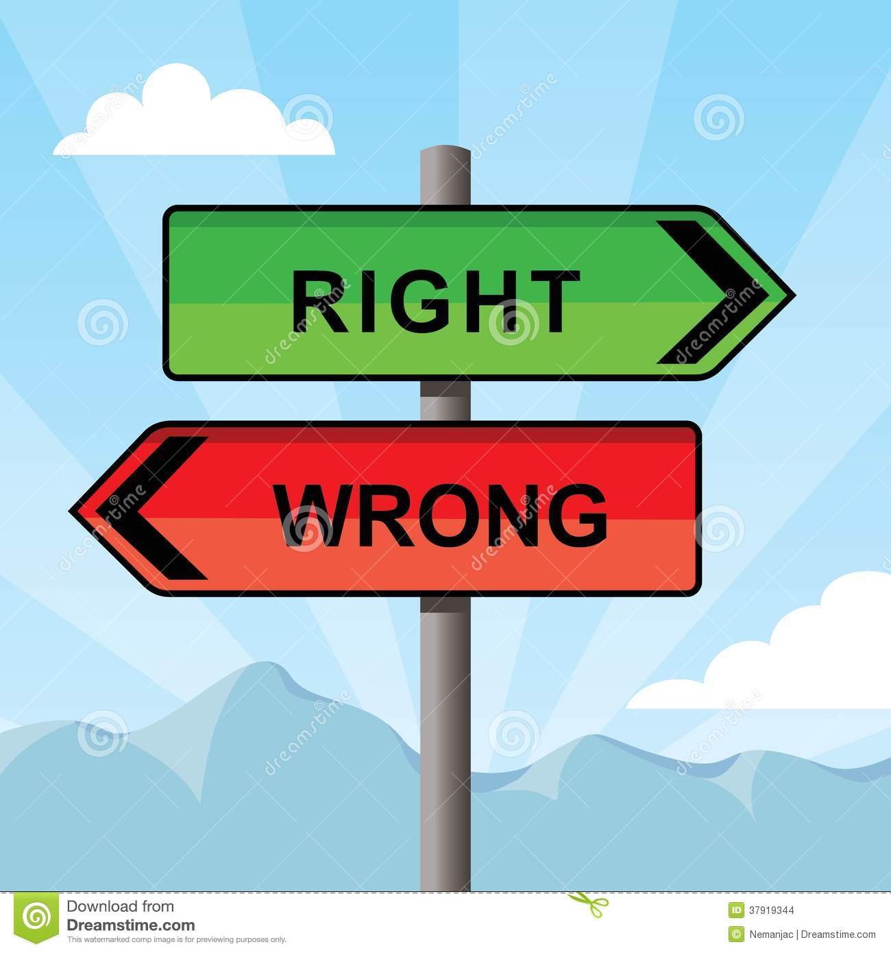 Direction Sign Pointing Opposite Directions Words Right And Wrong.