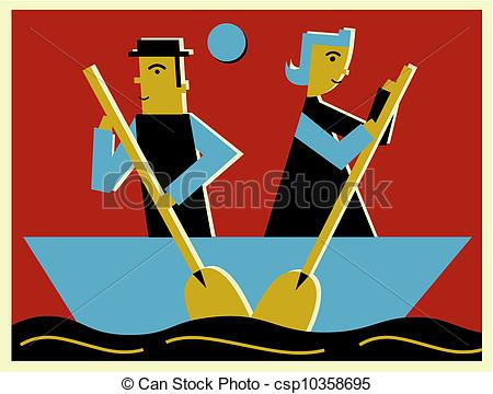 Stock Illustration of Two people rowing a boat in opposite.
