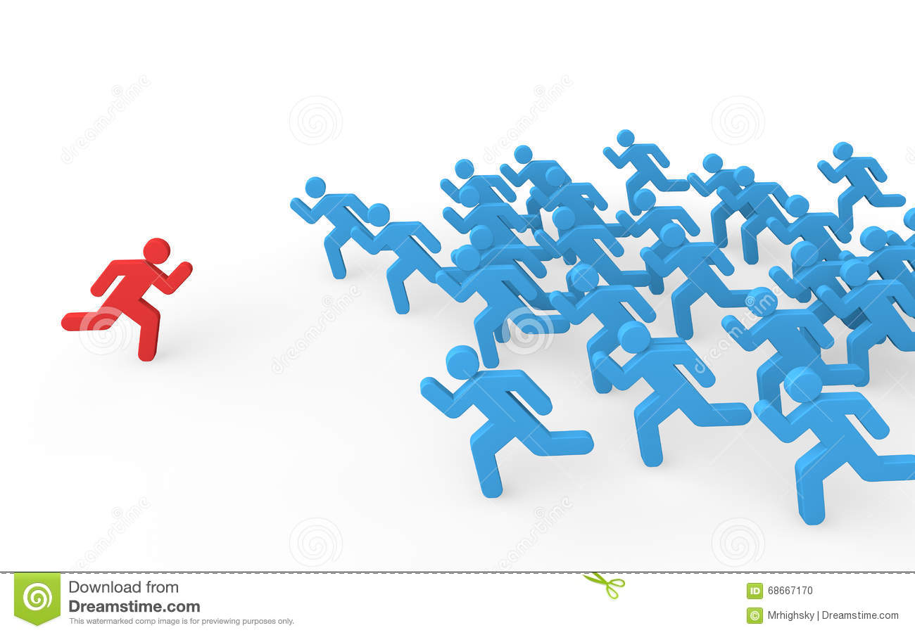 3d Stick Man Running In Opposite Direction To The Crowd Stock.