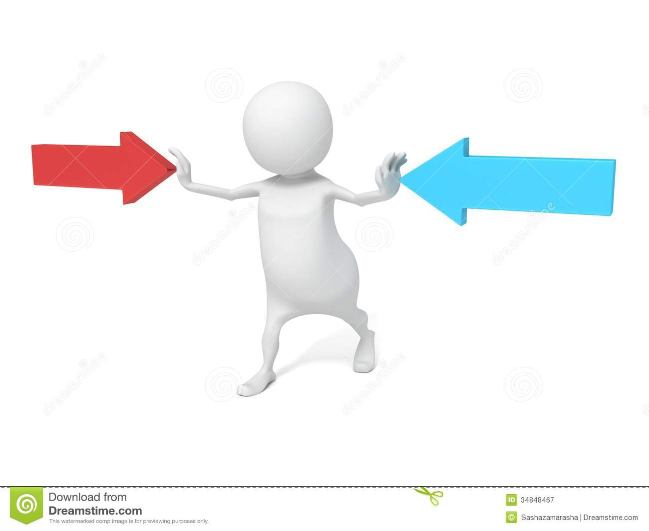 3d Man Stop Concept Arrows Pointing In Opposite Directions Royalty.