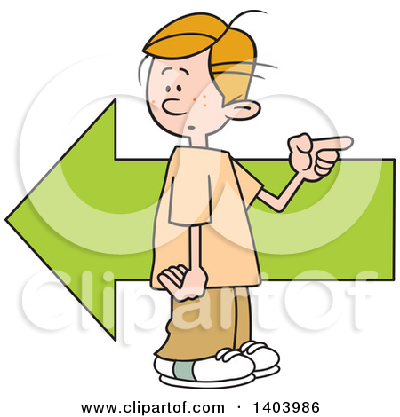 Clipart of a Cartoon Caucasian Boy Pointing in the Opposite.
