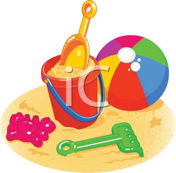 Royalty Free Clipart Image: Beach Toys Sitting in the Sand.