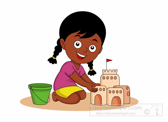Girl playing in the sand clipart.