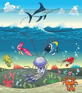 Fish under the sea clipart.