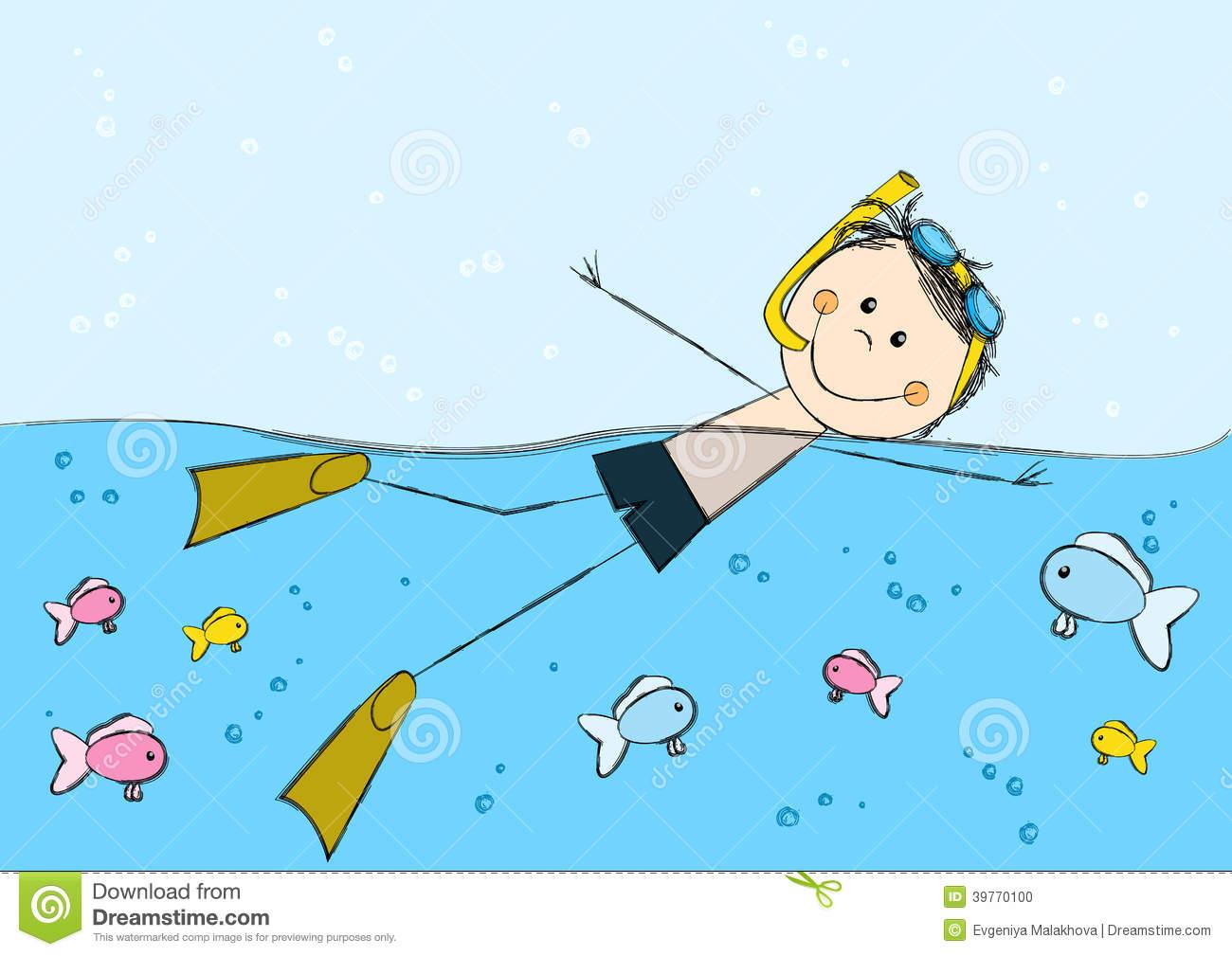 Swimming in the sea clipart.