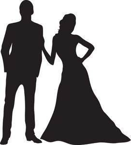 Prom Couples Shadow Clipart.